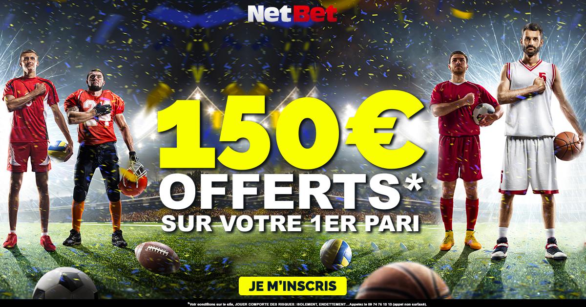 Netbet 150 € offre de bienvenue